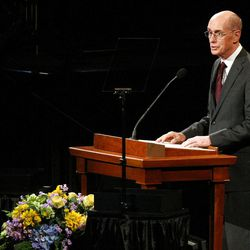 President Henry B. Eyring speaks during Golden Days, A Celebration of Life, in honor of President Thomas S. Monson's 85th birthday at the LDS Conference Center in Salt Lake City on Friday, Aug. 17, 2012.