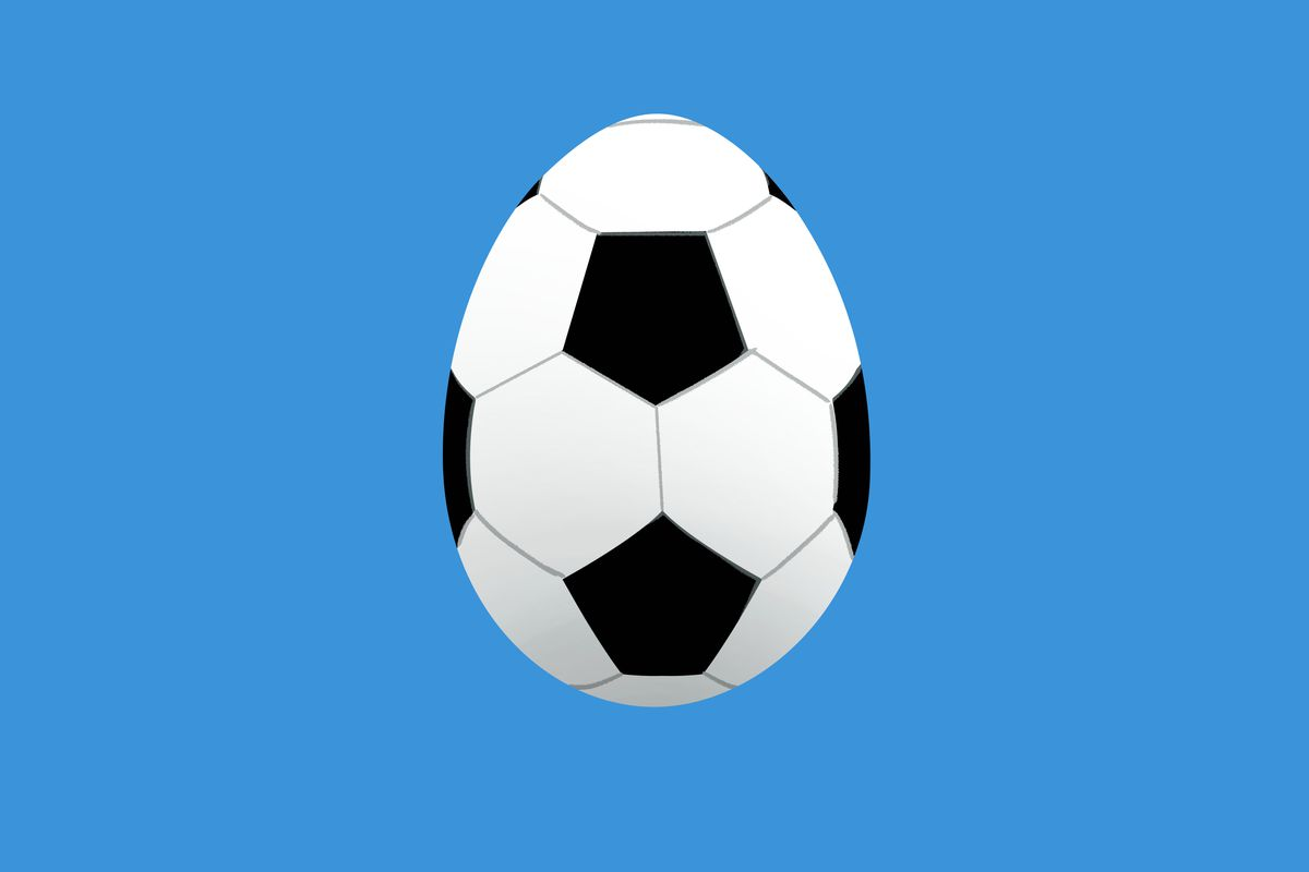 A soccer ball in the shape of a Twitter egg