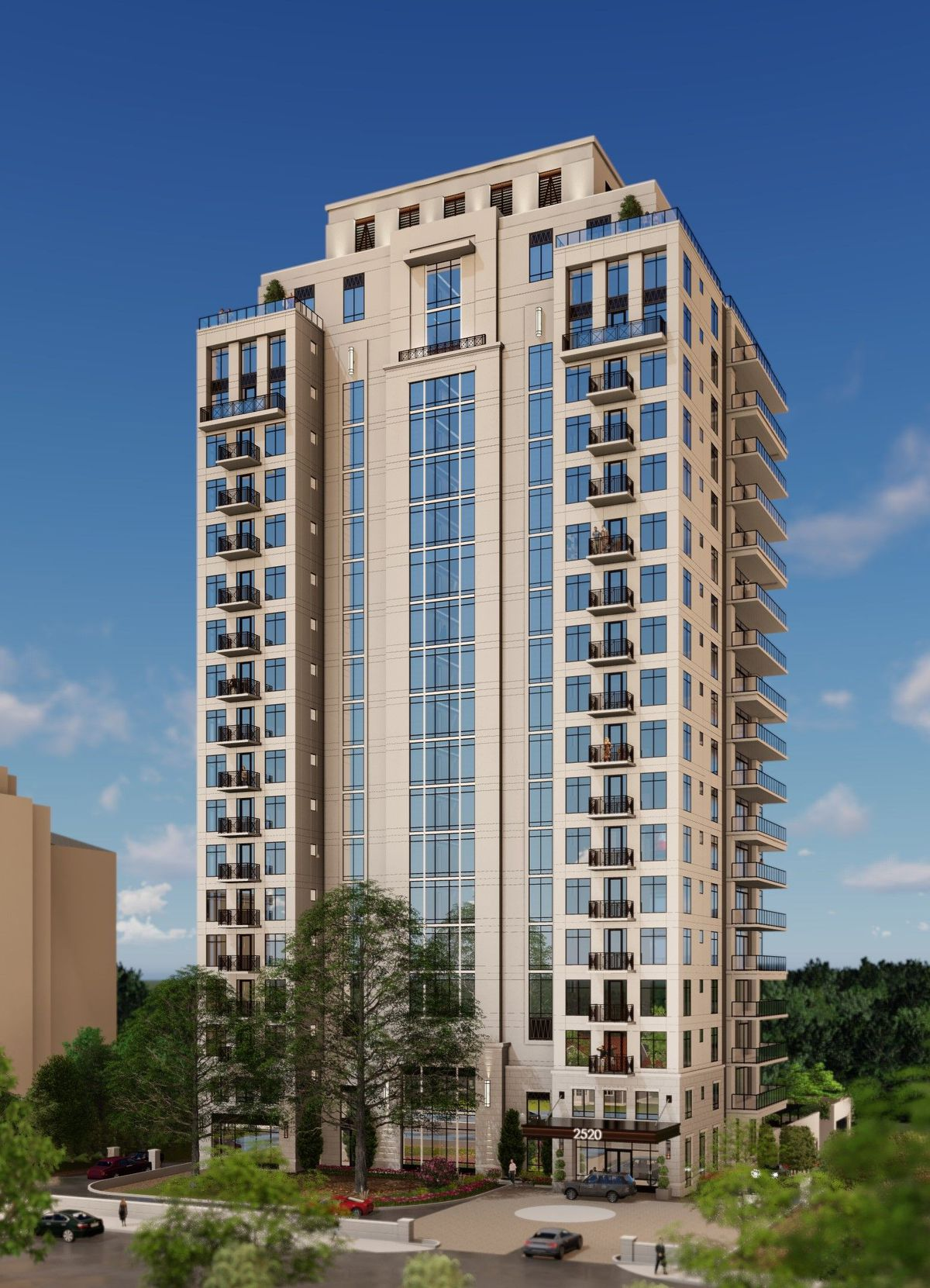 A rendering of a tall condo building girded by tress at the base.