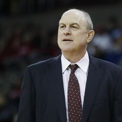 Mississippi State head coach Ben Howland works the bench in the first half of an NCAA college basketball game against Cincinnati, Tuesday, Dec. 12, 2017, in Highland Heights, Ky. Cincinnati won 65-50. (AP Photo/John Minchillo)