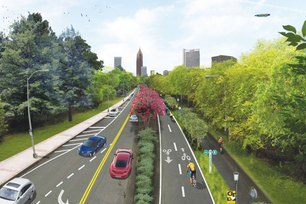 Near Georgia Tech, a rendering for Tech Parkway's overhaul, looking south toward downtown.