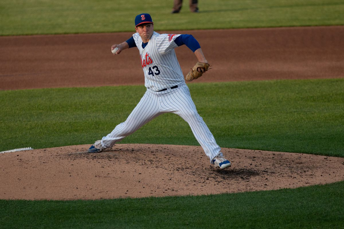 Jerad Eickhoff during a Syracuse Mets game on May 20, 2021.