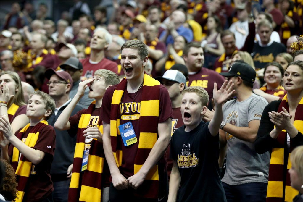 Those maroon-and-yellow Loyola scarves are oh so similar to those sported by Harry Potter and his classmates. | Ronald Martinez/Getty Images