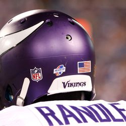 Aug 16, 2013; Orchard Park, NY, USA; A view of the helmet on Minnesota Vikings running back Bradley Randle (38) on the bench during the game against the Buffalo Bills at Ralph Wilson Stadium. Bills beat the Vikings 20-16.