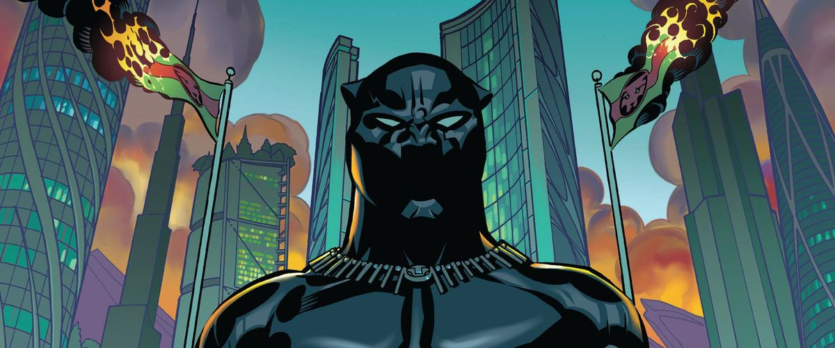 T'Challa, the Black Panther stands in the capital city of Wakanda, two Wakandan flags burning behind him, on the cover of Black Panther #1, Marvel Comics (2016).