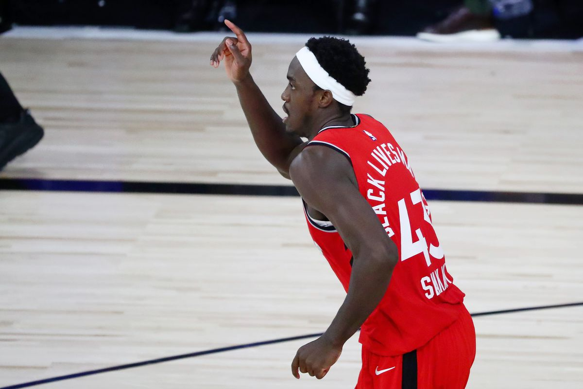 Pascal Siakam of the Toronto Raptors reacts after dunking against the Brooklyn Nets during the first half in Game Three of the first round of the 2020 NBA Playoffs at The Field House at ESPN Wide World Of Sports Complex on August 21, 2020 in Lake Buena Vista, Florida.
