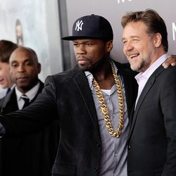 """Rapper and actor Curtis """"50 Cent"""" Jackson, left, takes a selfie with actor Russell Crowe at the premiere of """"Noah"""" at the Ziegfeld Theatre on March 26 in New York."""