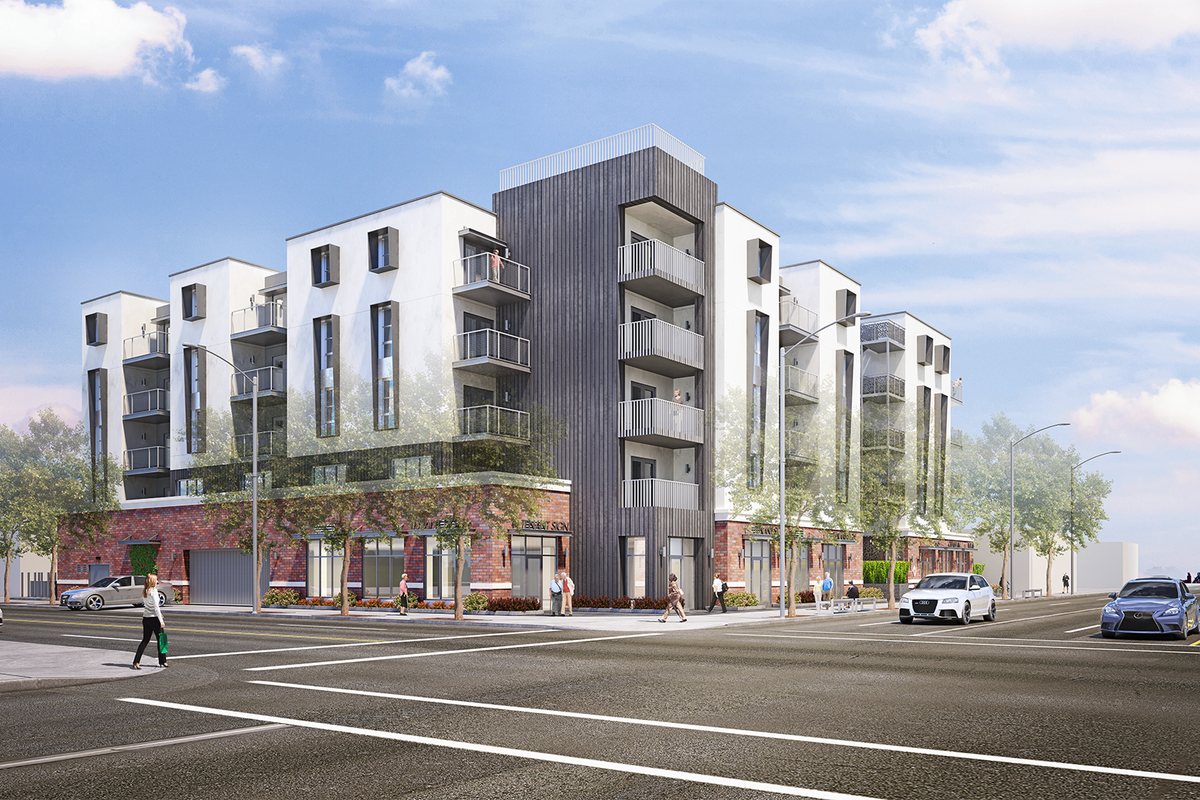 Rendering of five-story apartment building
