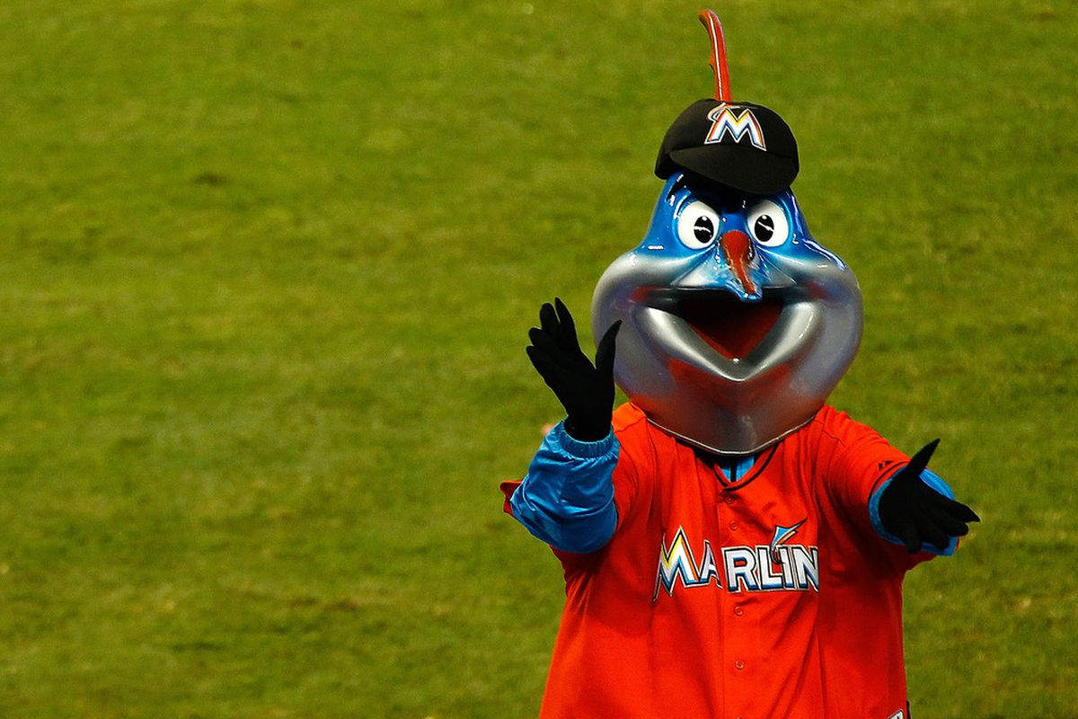Billy the Marlin cheers during a game between the Miami Marlins and the Houston Astros at Marlins Park in Miami, Florida.  (Photo by Mike Ehrmann/Getty Images)
