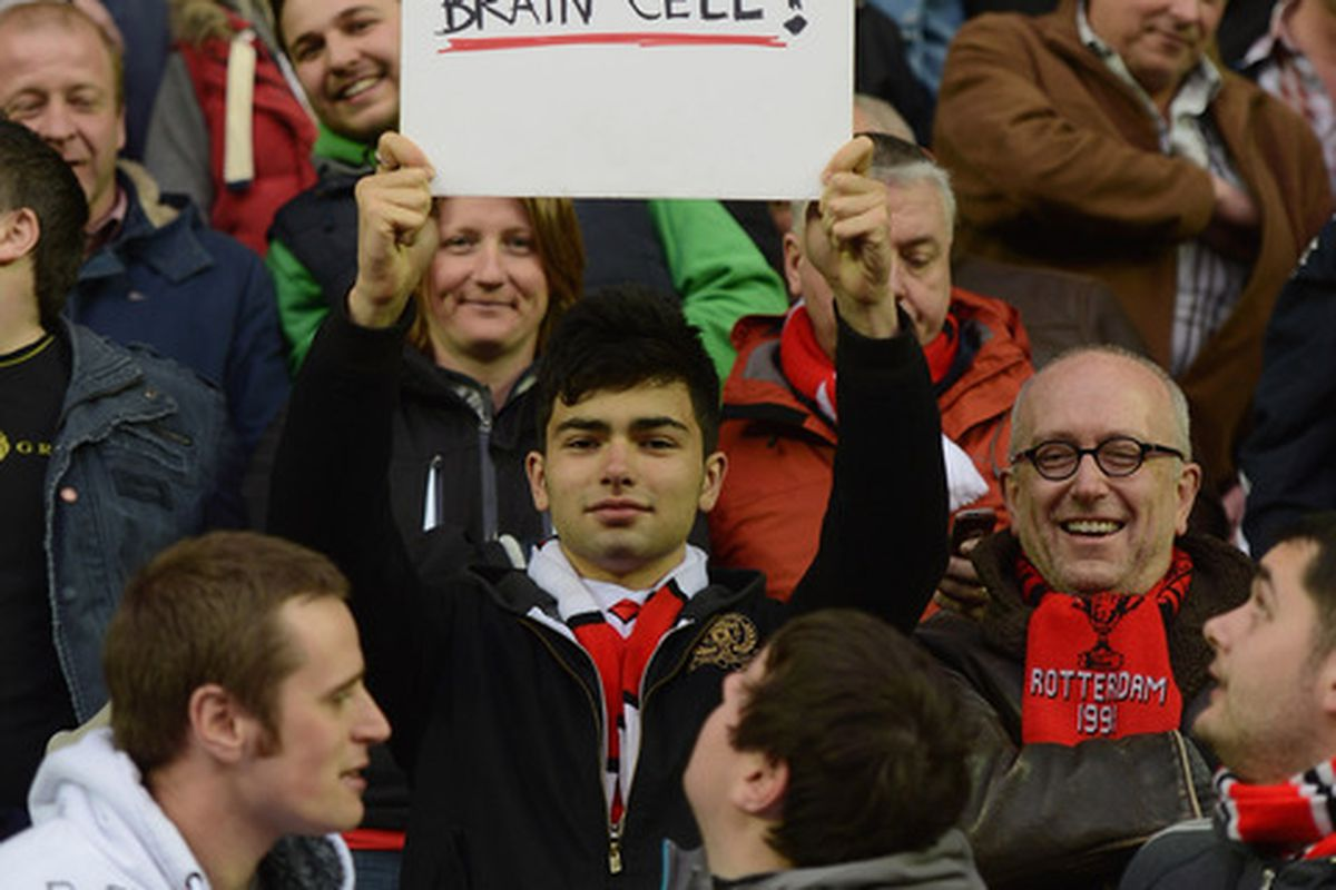 A cheeky United fan at the DW Stadium last night. A flattering exchange rate if you ask me....