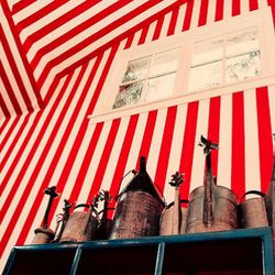 The aforementioned carnival stripes pervade the tasting room.