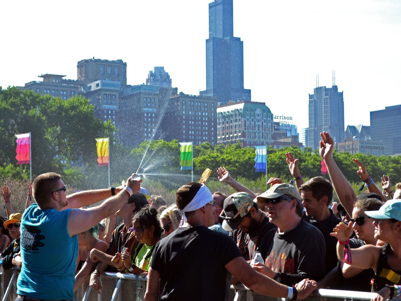 Lollapalooza staff cool the crowd with water as Gary Clark Jr. performs at Lollapalooza Saturday, August 3, 2019.