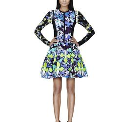 Dress in Purple Floral Print, $69.99**; Shirt in Green Floral Print, $19.99**