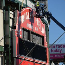 1:21 p.m. Work resuming on the removal of the marquee -