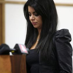 Former Miss USA Rima Fakih stands before the court for her drunken driving case at 30th District Court in Highland Park, Mich., on Wednesday, April, 11, 2012.  A trial had been planned before 30th District Court Judge Brigette Officer on the original charges of drunken driving, careless driving and having an open container of alcohol, all misdemeanors. Fakih pleaded no contest.