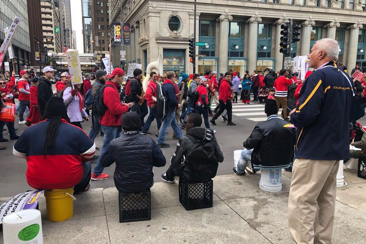 Chicago Teachers Union members and supporters ended the seventh day of their strike with a rally that shut down traffic in parts of downtown Chicago.