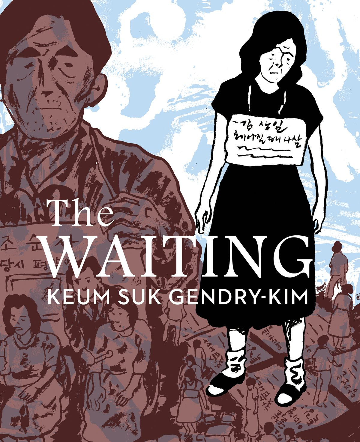 A woman wears a sign around her neck on the cover of The Waiting (2021).