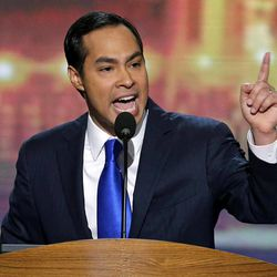 San Antonio Mayor Julian Castro addresses the Democratic National Convention in Charlotte, N.C., on Tuesday, Sept. 4, 2012.