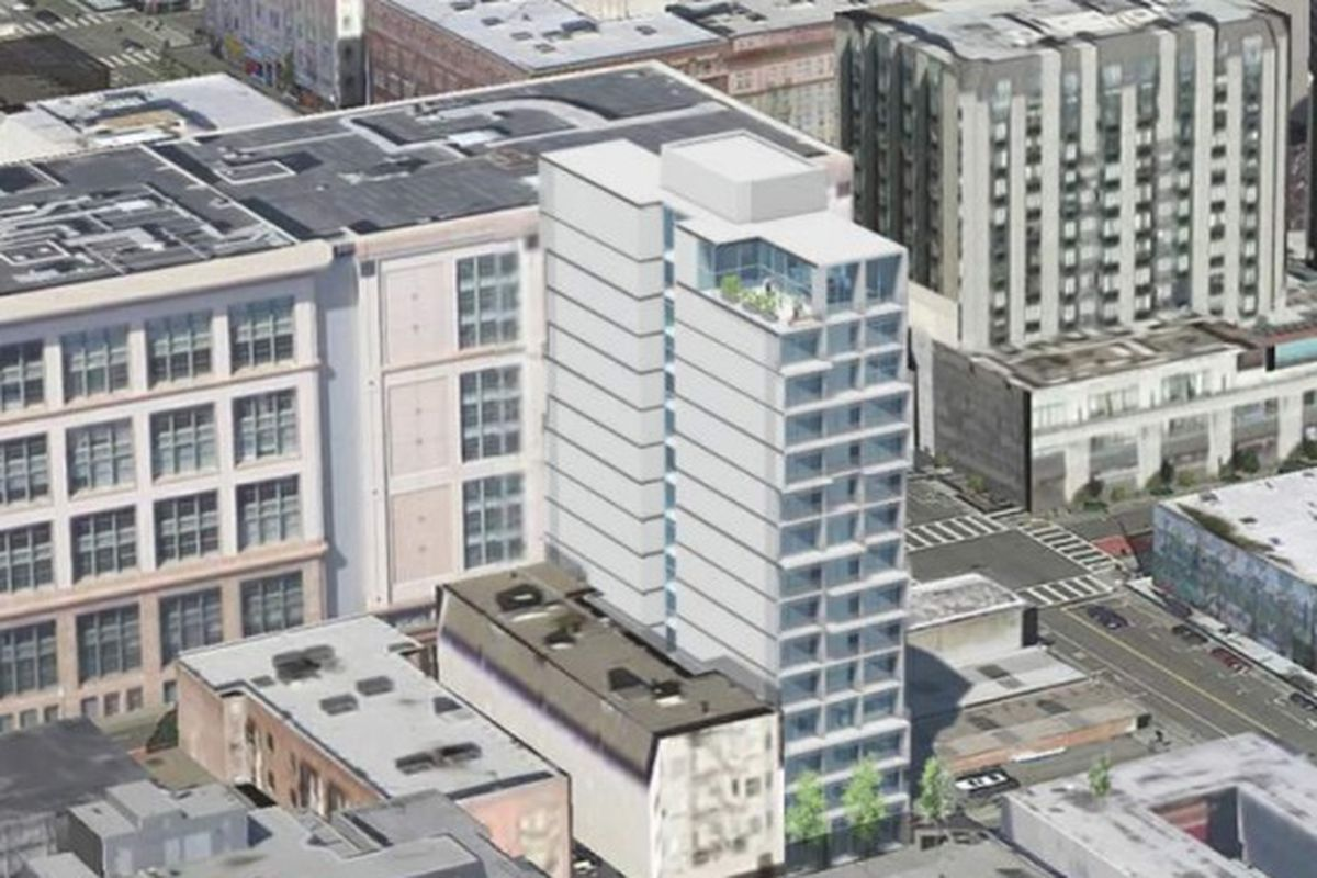 A rendering of a 15-story tower in the Tenderloin, imposed on the existing block.