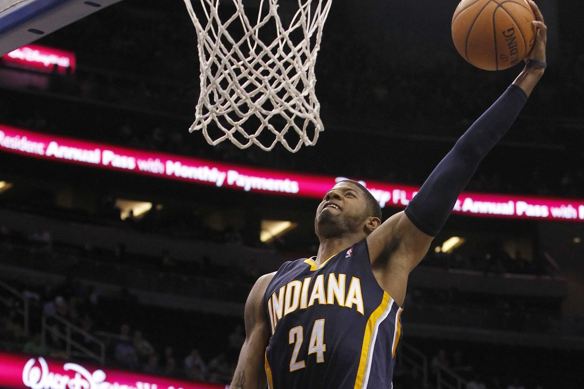 East wins dunk contest paul george goes between the legs on a 360 kim klement usa today sports voltagebd Gallery