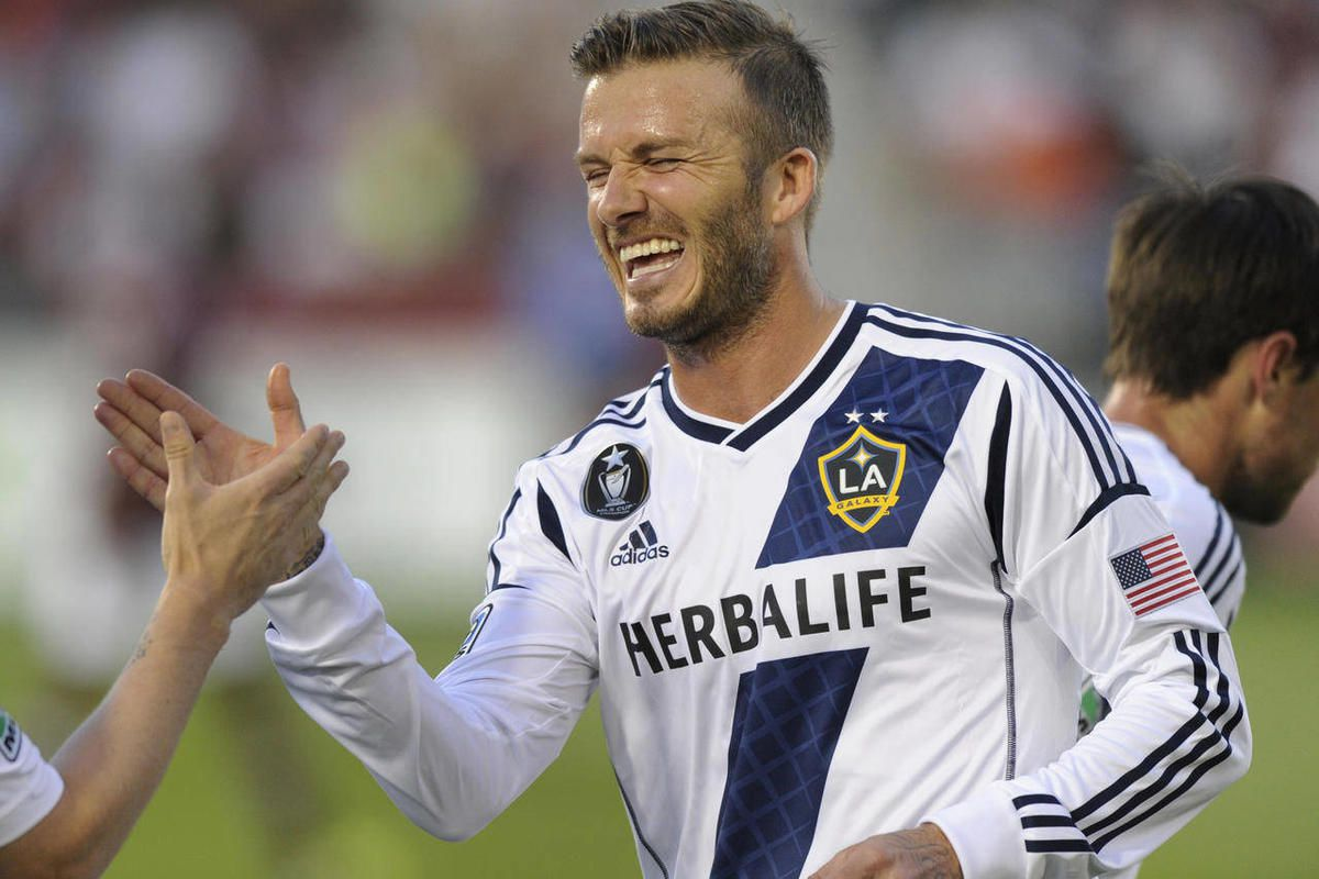 Galaxy star David Beckham celebrated a goal in the first half. The Colorado Rapids hosted the Los Angeles Galaxy Saturday night, April 21, 2012, in Commerce City, Colo.