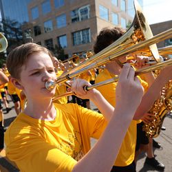 Members of the Davis High School marching band perform during the Days of '47 Parade in Salt Lake City on Friday, July 23, 2021.