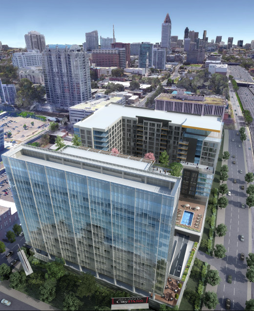 An aerial rendering shows how the project would squeeze between city streets and the Downtown Connector.