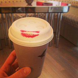 Start the day with a coffee. The red lips on the soft grey cup seems very Rouge. Leaving a trail of lipstick marks is a perk/hazard of the job.