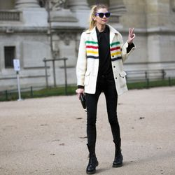 Model Stella Maxwell showing off her stripes in Paris.