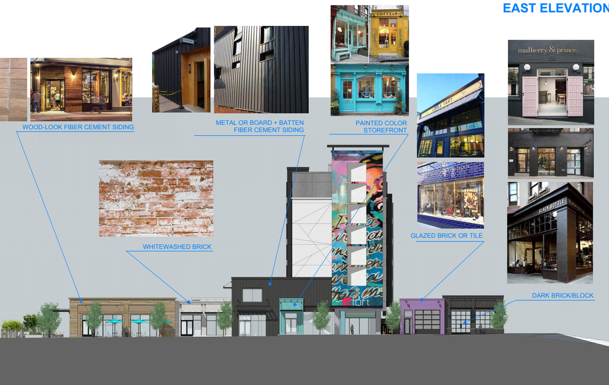 """Another elevation shows more design elements expected at the hotel, such as whitewashed brick or """"wood-look fiber cement siding."""""""