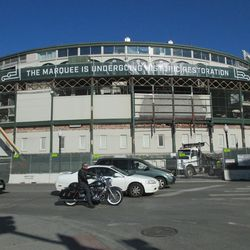 1:06 p.m. A view of the front of the ballpark -