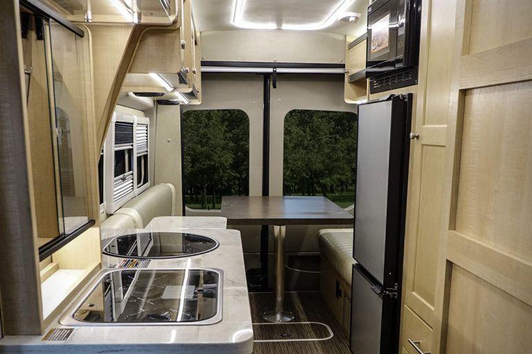The interior of the Winnebago Paseo van.