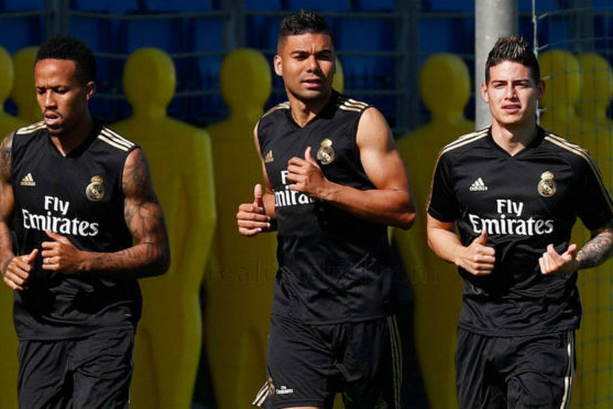 Image result for Jame Rodriguez and Hazard Real Madrid training