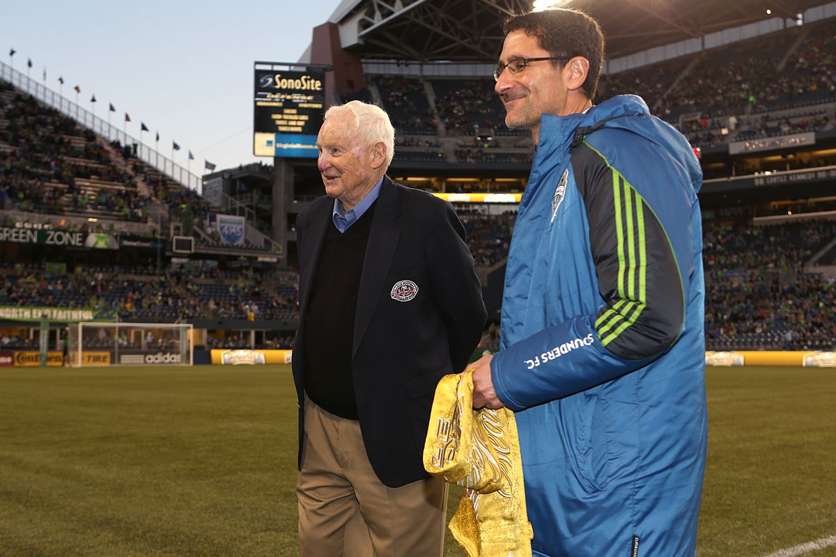 Bob Robertson, left, was presented the Golden Scarf in 2013