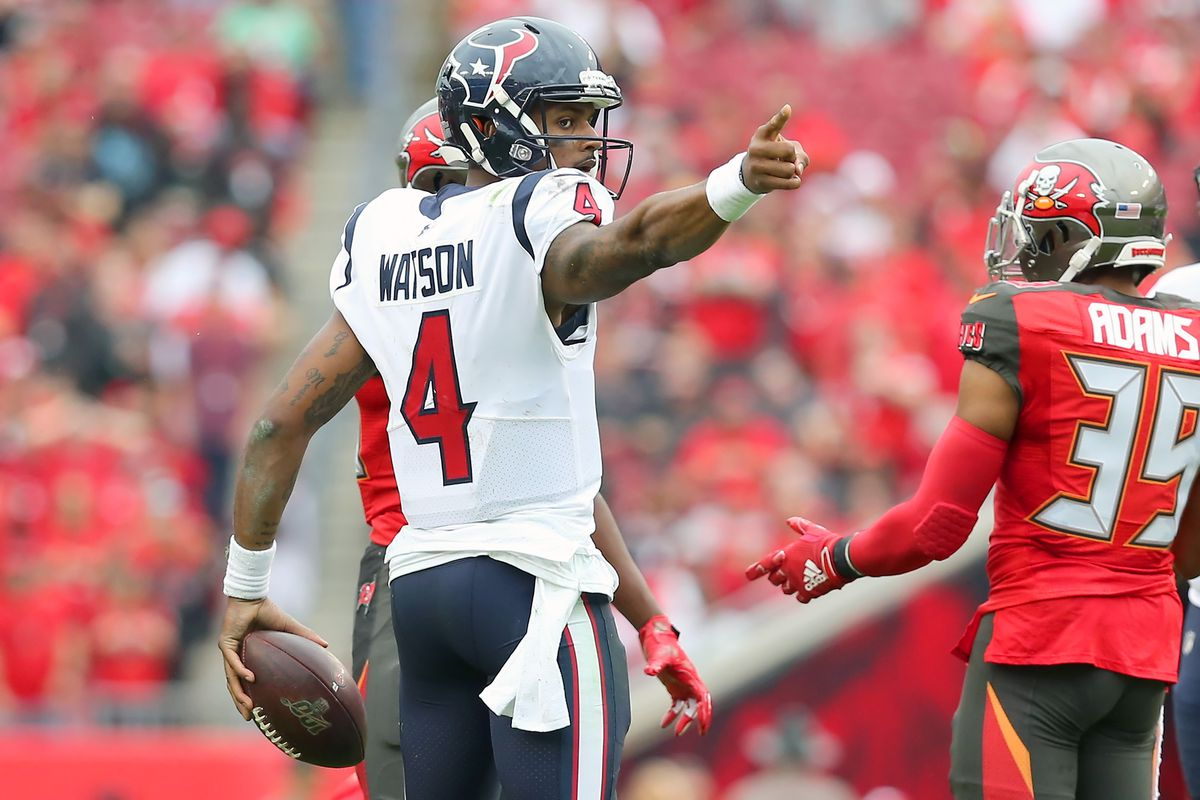 Deshaun Watson of the Texans signals first down during the regular season game between the Houston Texans and the Tampa Bay Buccaneers on December 21, 2019 at Raymond James Stadium in Tampa, Florida.