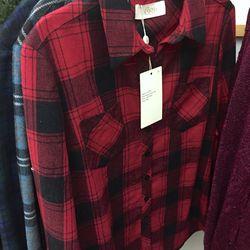 Red plaid Jesse shirt, $30 (was $95)