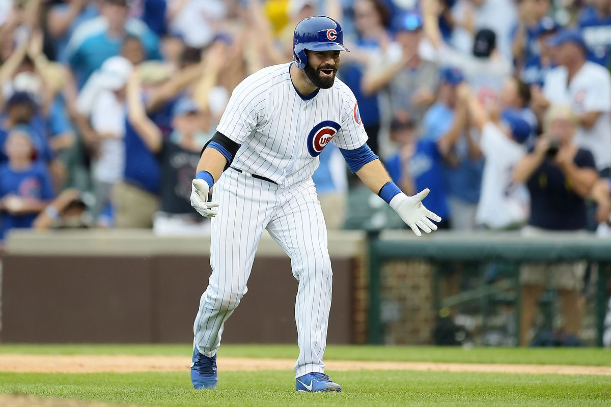 CHICAGO, IL - AUGUST 20:  Alex Avila #13 of the Chicago Cubs celebrates after hitting a walk off single to defeat the Toronto Blue Jays in the bottom of the 10th inning at Wrigley Field on August 20, 2017 in Chicago, Illinois.  The Cubs defeated the Blue Jays 6-5.  (Photo by Stacy Revere/Getty Images)