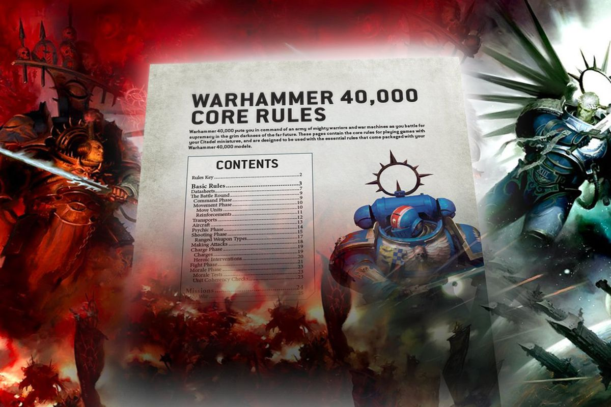 Chaos and loyal Space Marines appear to flank a page from the Warhammer 40,000 9th edition ruleset.