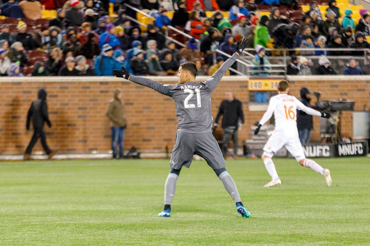 March 31, 2018 - Minneapolis, Minnesota, United States - Minnesota United Forward, Christian Ramirez (21) gestures for the ball as he takes up an advanced position as Atlanta United Defender, Greg Garza (4) lays in the box during the Minnesota United vs Atlanta United match at TCF Bank Stadium.  (Photo by Seth Steffenhagen/Steffenhagen Photography)