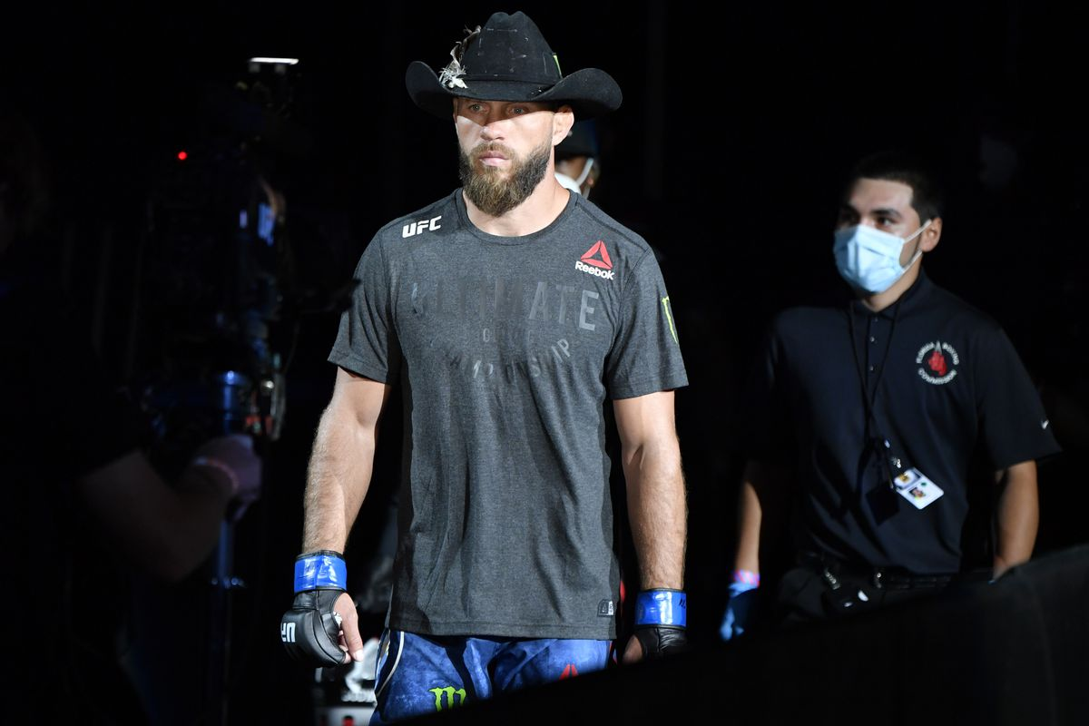 Donald Cerrone makes the walk to fight Anthony Pettis at UFC 249