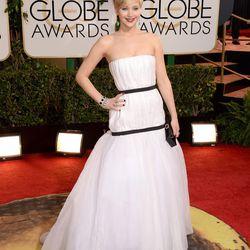 Jennifer Lawrence in—surprise, surprise—Dior. Was that second black ribbon really necessary?