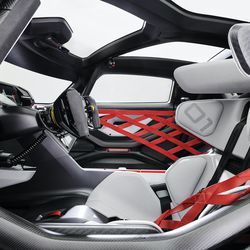 """<em>The driver's seat of the Mission R has distinct """"gamer chair"""" vibes. Or maybe gaming chairs have race car vibes, who can say.</em>"""