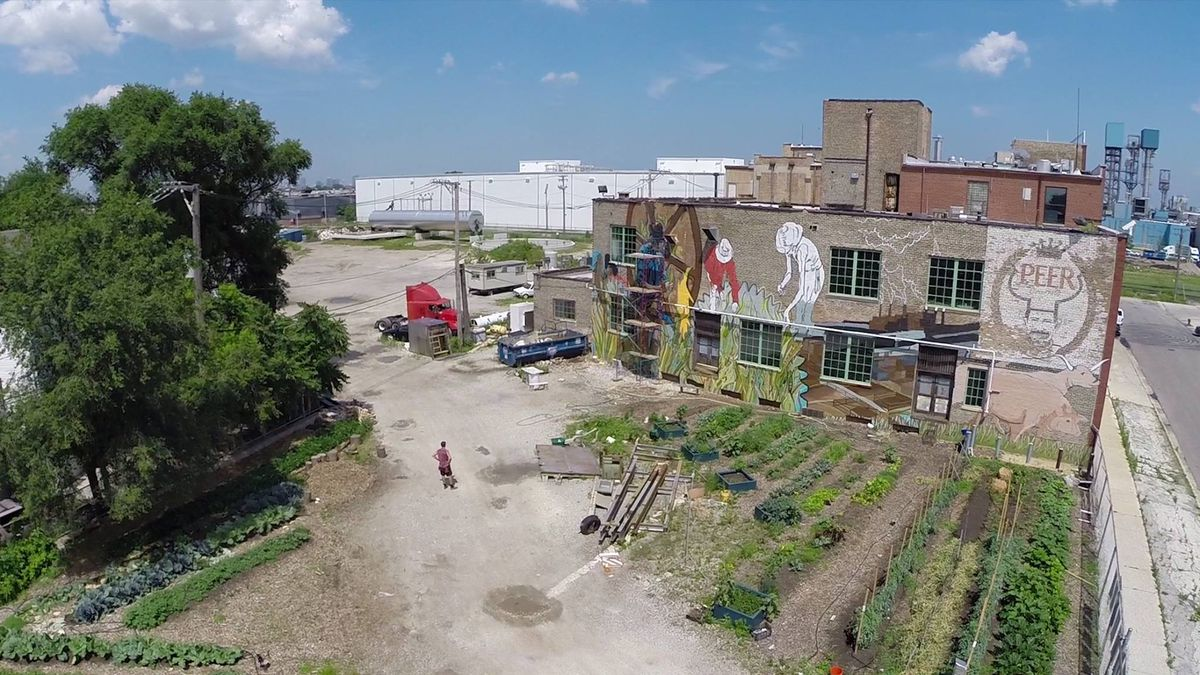 This is a view from above of the mural at 1400 W. 46th St. as it was still in progress. The adjacent patch of urban farm land also can be seen.