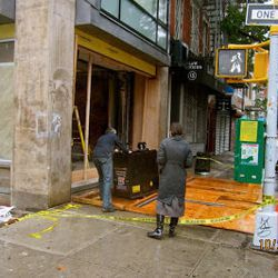"""The front of the new Wafels & Dinges shop in the East Village, via <a href=""""http://evgrieve.com/2012/10/fallen-storefront-on-avenue-b-and-east.html"""">EV Grieve</a>."""