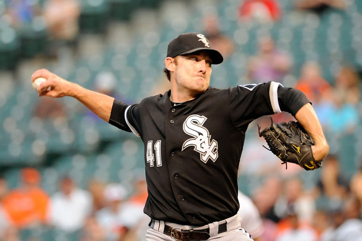 BALTIMORE, MD - AUGUST 10:  Philip Humber #41 of the Chicago White Sox pitches against the Baltimore Orioles at Oriole Park at Camden Yards on August 10, 2011 in Baltimore, Maryland.  (Photo by Greg Fiume/Getty Images)