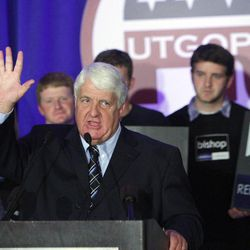 Rep. Rob Bishop, R-Utah,  waves to supporters at the Hilton  in Salt Lake City  Tuesday, Nov. 6, 2012.