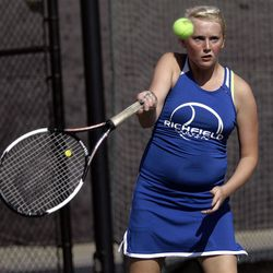 Janell Starr of Richfield competes against Kaitlin Ramsey of Rowland Hall (not pictured) in the State 2A Tennis second seed singles tournament at Liberty Park in Salt Lake City Saturday, Sept. 29, 2012.