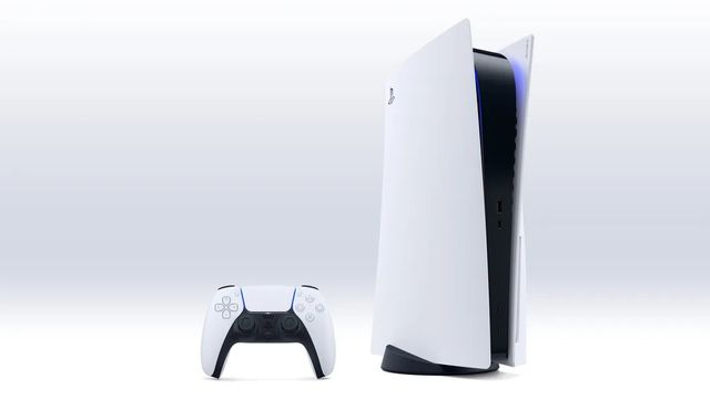 A PlayStation 5 with a PS5 controller