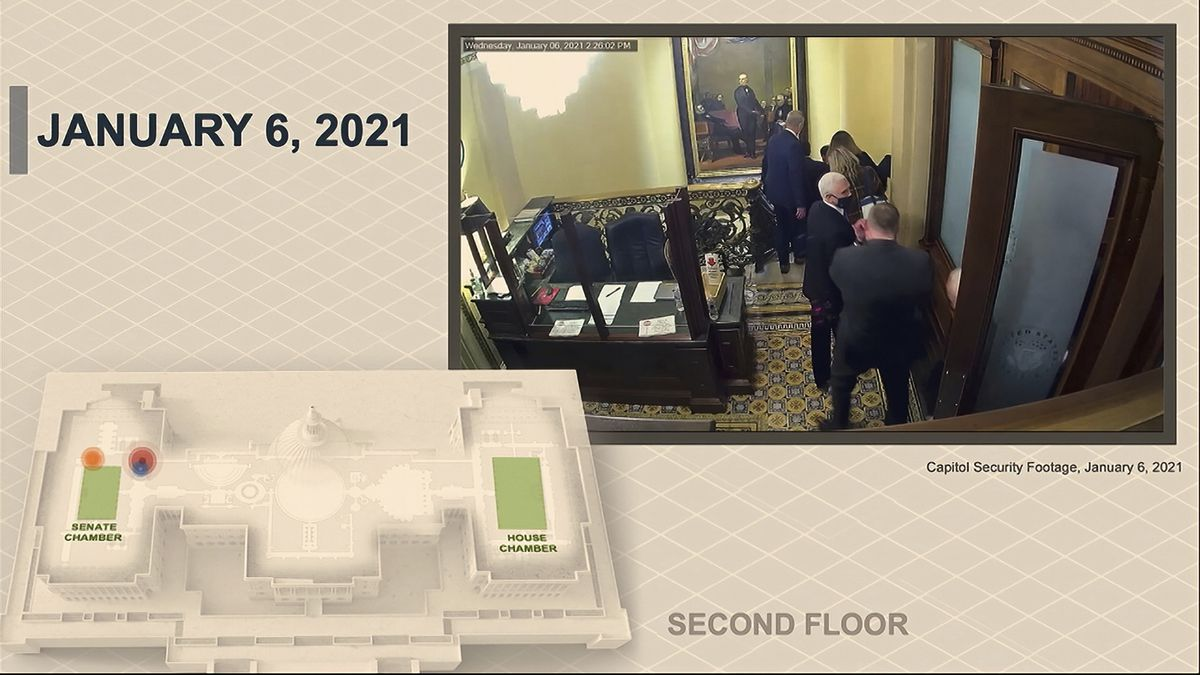 In this image from video, a security video shows Vice President Mike Pence being evacuated as rioters breach the Capitol, as House impeachment manager Del. Stacey Plaskett, D-Virgin Islands, speaks during the second impeachment trial of former President Donald Trump in the Senate at the U.S. Capitol in Washington, Wednesday, Feb. 10, 2021.