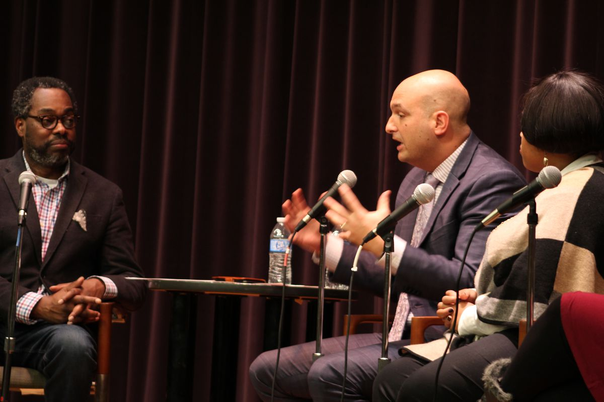 Superintendent Nikolai Vitti speaks during a forum about families that frequently switch schools in Detroit.